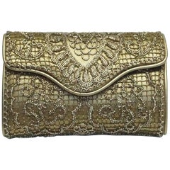 Ralph Lauren Collection Gold/Bronze Leather Beaded Clutch