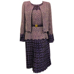 Chanel Spring Purple and Chocolate Silk and Rayon Wool Knit Ensemble 38