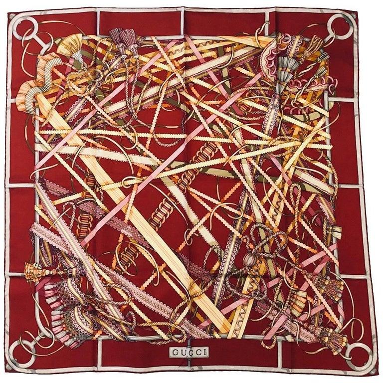 Gorgeous Gucci Garnet Silk Twill Scarf With Ribbon Tassel and Rope Print