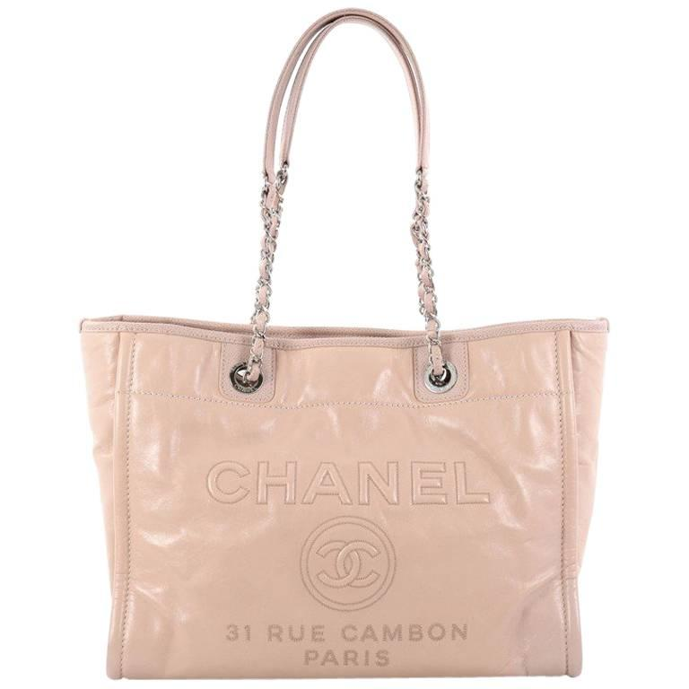 d2166238741eb9 Chanel Deauville Chain Tote Glazed Calfskin Small at 1stdibs