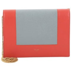 Celine Frame Evening Clutch on Chain Leather