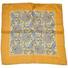 Golden Border with Multicolor Paisley Silk Handkerchief