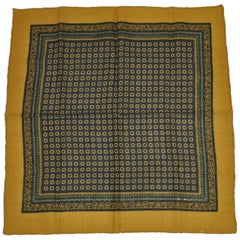 Wool Challis and Silk Handkerchief with Olive Border and Multicolored Center