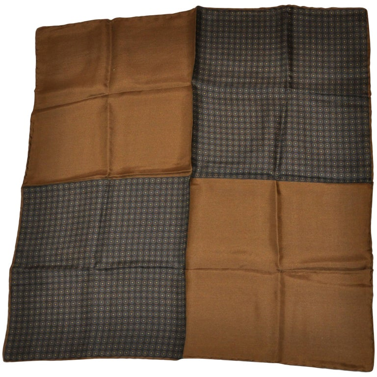 Warm Browns and Multi-Pattern Four Blocks silk handkerchief