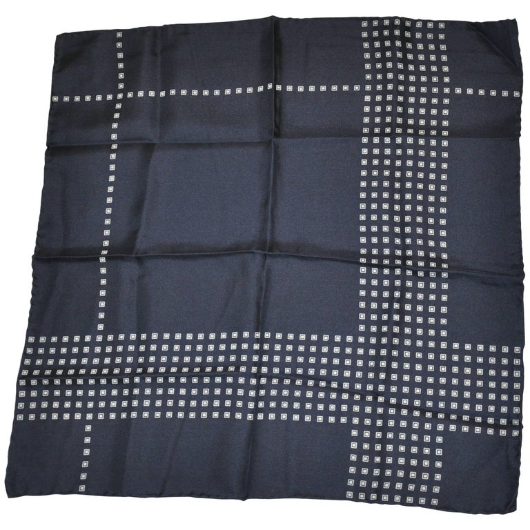 Navy with Micro Navy and White Squares Silk Handkerchief