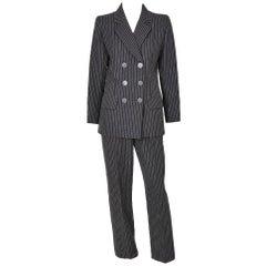 Yves Saint Laurent Double Breated Pin Stripe Pant Suit