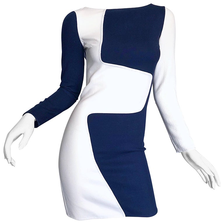 Michael Kors Collection Spring 2013 Size 0 / 2 Navy Blue and White Puzzle Dress For Sale