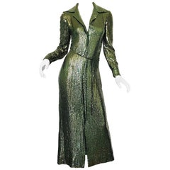 1970s Halston Hunter Forest Green Silk Chiffon Sequined Belted Vintage 70s Gown