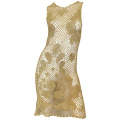 1970s Gold Metallic Hand Crochet Vintage 70s Sexy Sheer Rayon Dress