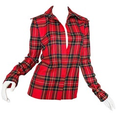 Dolce & Gabbana 1990s Red Tartan Plaid Virgin Wool 90s Plunging Flannel Shirt