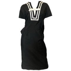 Suzy Perette 1950s Large Size Black and White Nautical Vintage 50s Cotton Dress