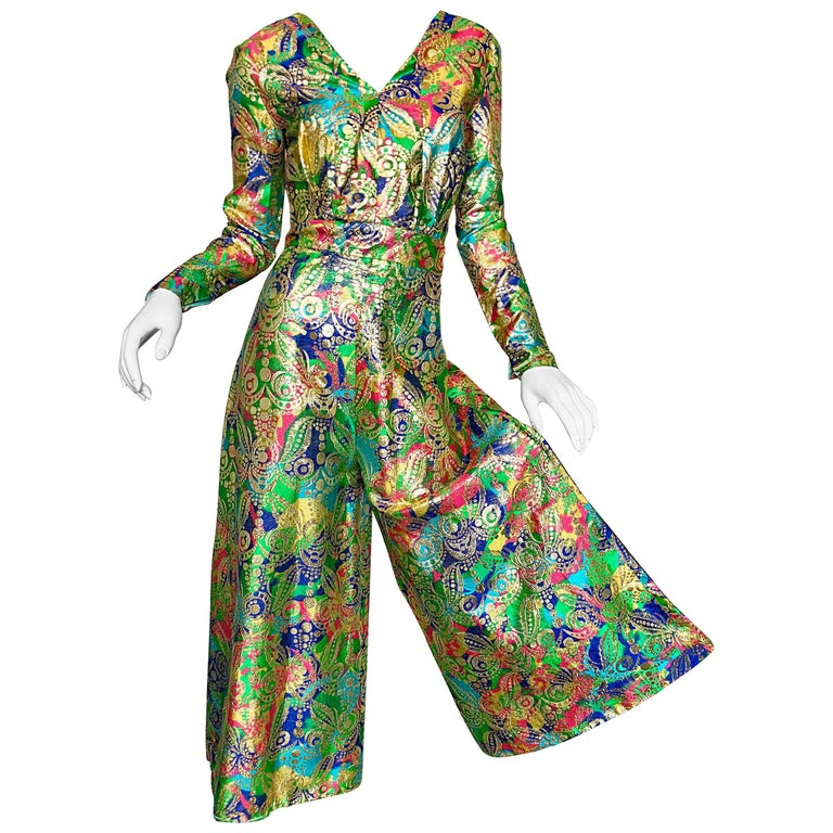 Amazing 1970s Long Sleeve Psychedelic Paisley 70s Wide Leg Palazzo Jumpsuit
