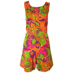 1960s Alfred Shaheen Romper Brightly Colored Tropical Hawaiian One Piece 60s