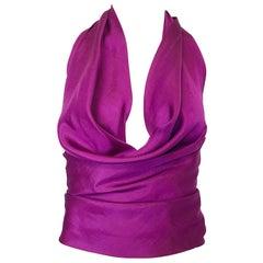 1970s Cardinali Original Sample Purple Grape Silk Plunging 70s Halter Top