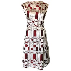 Joseph Magnin 1960s Silver + Burgundy Op - Art Abstract Silk 60s A - Line Dress