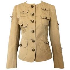 Vintage Moschino Cheap & Chic 1990s Size 6 Khaki Cotton Military Inspired Jacket