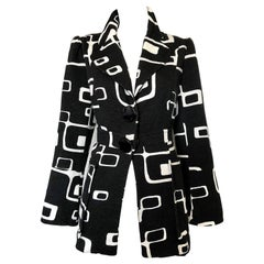 Chic 1990s Alberto Makali Size 12 Abstract Op Art Black and White Blazer Jacket