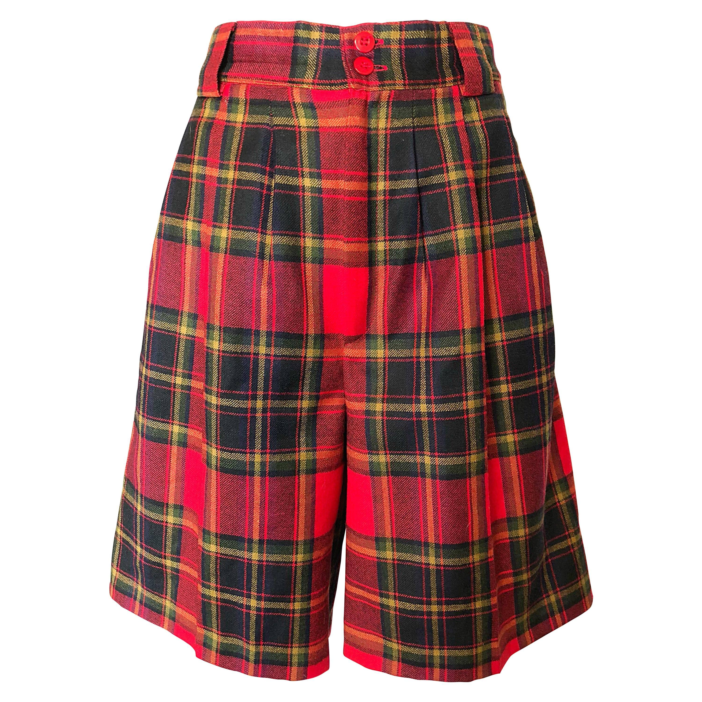 Giorgio Sant Angelo 1980s Red Tartan Plaid Virgin Wool Vintage Culottes Shorts
