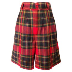 Giorgio Sant Angelo 1980s Red Tartan Plaid Virgin Wool Vintage Culottes Shorts
