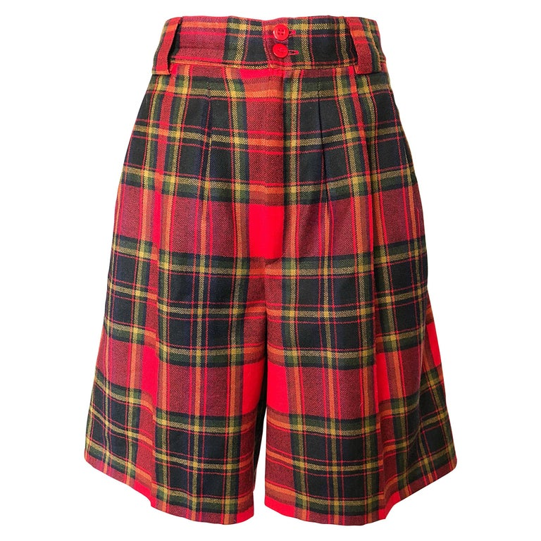 Giorgio Sant Angelo 1980s Red Tartan Plaid Virgin Wool Vintage Culottes Shorts  For Sale