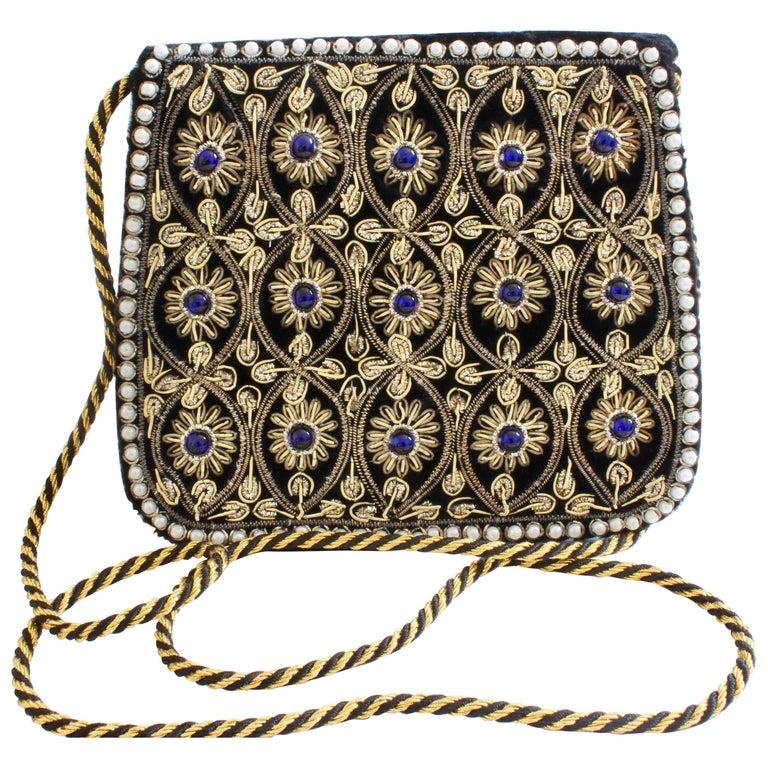 Mary McFadden Evening Bag Purse Embellished Black Velvet in Original Box 1980s  For Sale