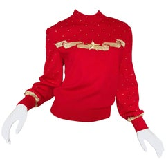 Vintage St John Evening Lipstick Red + Gold 1990s Star Studded Santana Knit Top