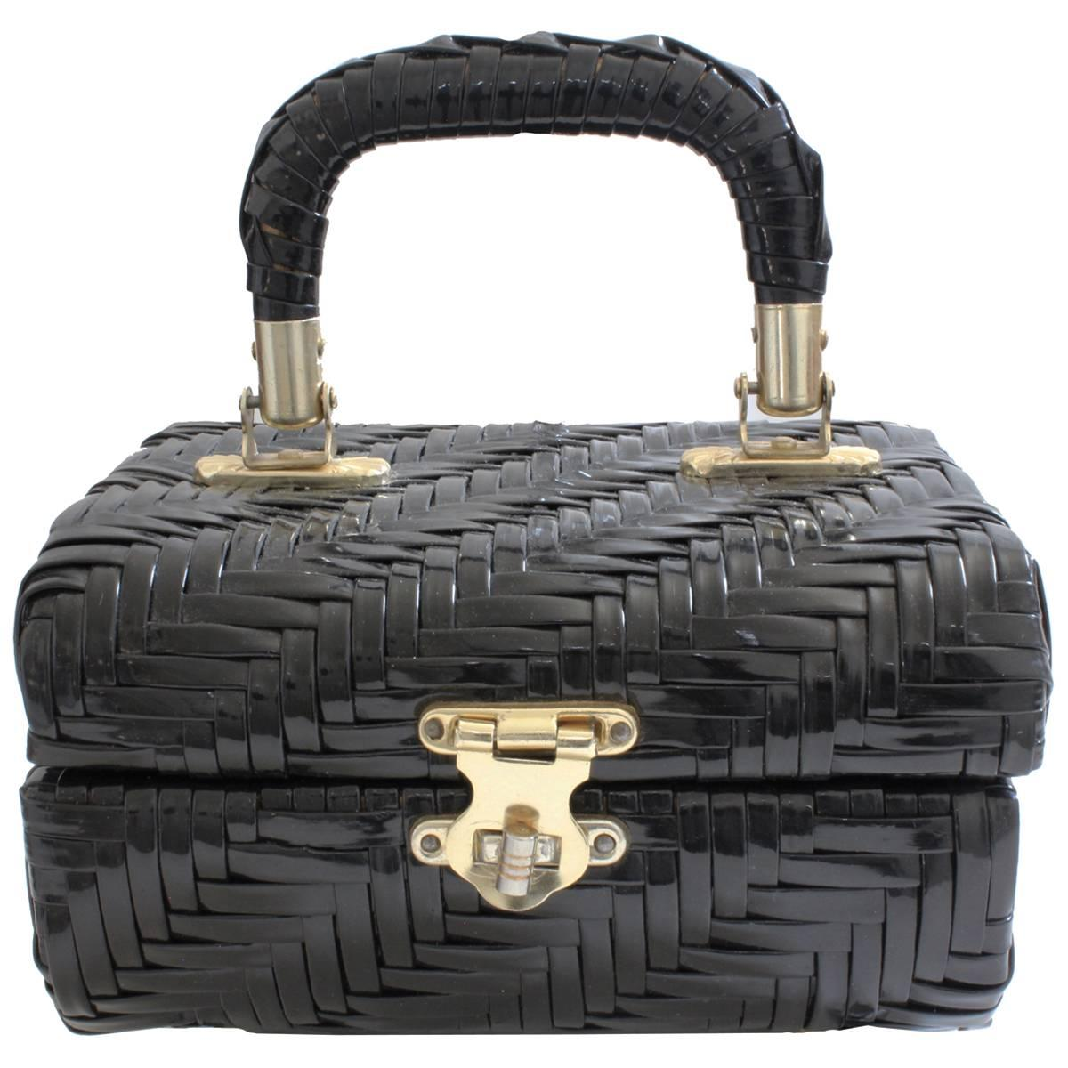1960s DELILL Box Purse Black Woven with Top Handle Jewelry Tote Bag