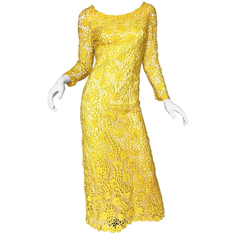 20b8ffc9384 Joe Salazar Rare 1960s Canary Yellow Hand Crochet Vintage 60s Maxi Dress  Gown For Sale