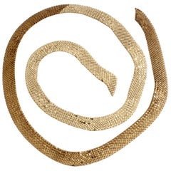 70s Whiting Davis Attr. 59in Mesh Sash Tie or Belt Two Tone Gold Bronze Vintage