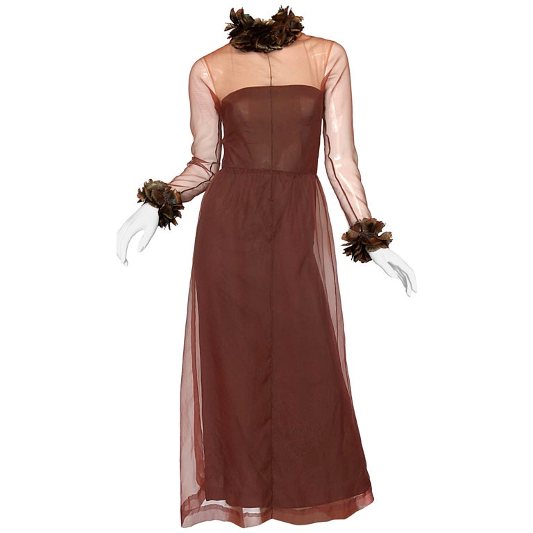 Vintage Givenchy Couture Numbered 1960s Chocolate Brown Feathered Chiffon Gown