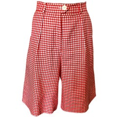 Vintage Escada Margaretha Ley Red White Nautical Gingham 1980s Culottes Shorts