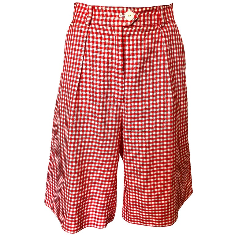 Vintage Escada Margaretha Ley Red White Nautical Gingham 1980s Culottes Shorts For Sale