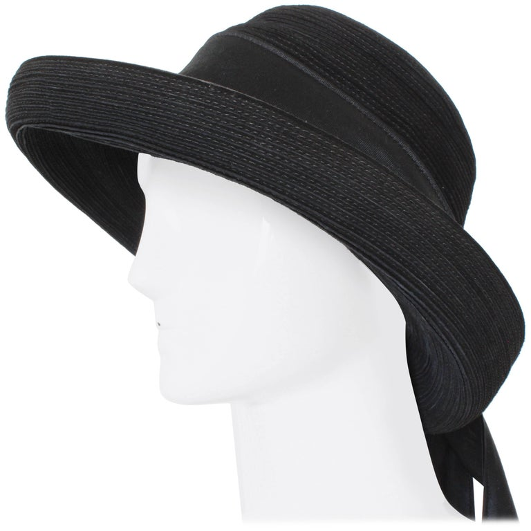 Patricia Underwood New York Black Corded Leather Hat Wide Brim + Ribbon 80s Sz 7