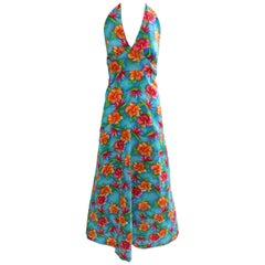 70s Hilo Hattie Pomare Halter Dress Maxi Bold Hawaiian Floral Print Festival 16