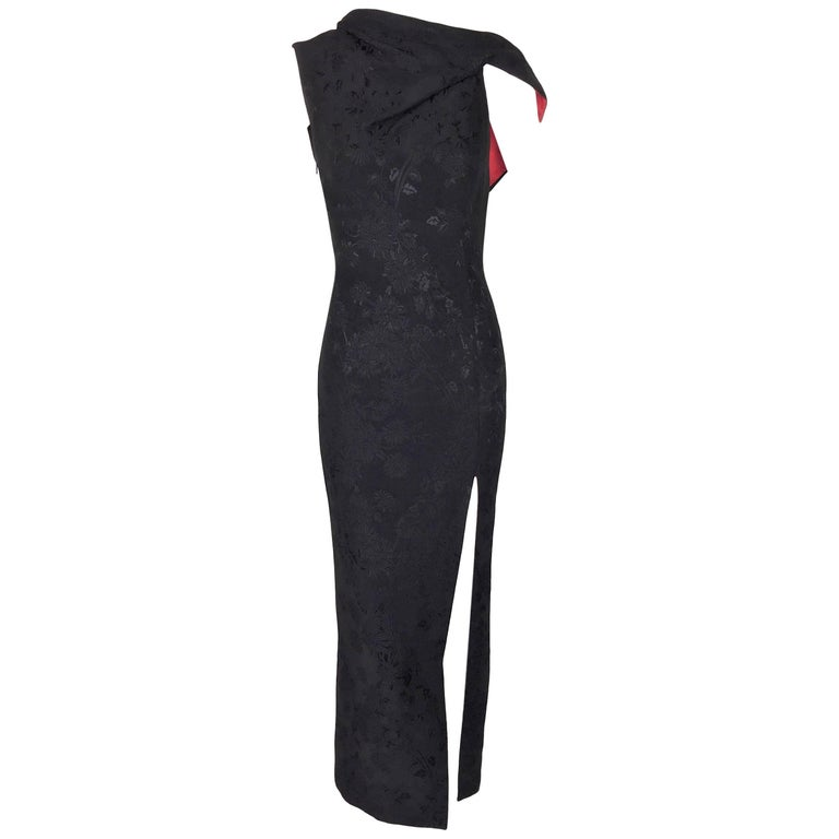 S/S 1998 Gianni Versace Black & Red Chinoiserie Plunging High Slit Gown Dress