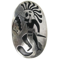 Vintage Taxco Mexican Sterling Silver Warrior Pendant - Brooch
