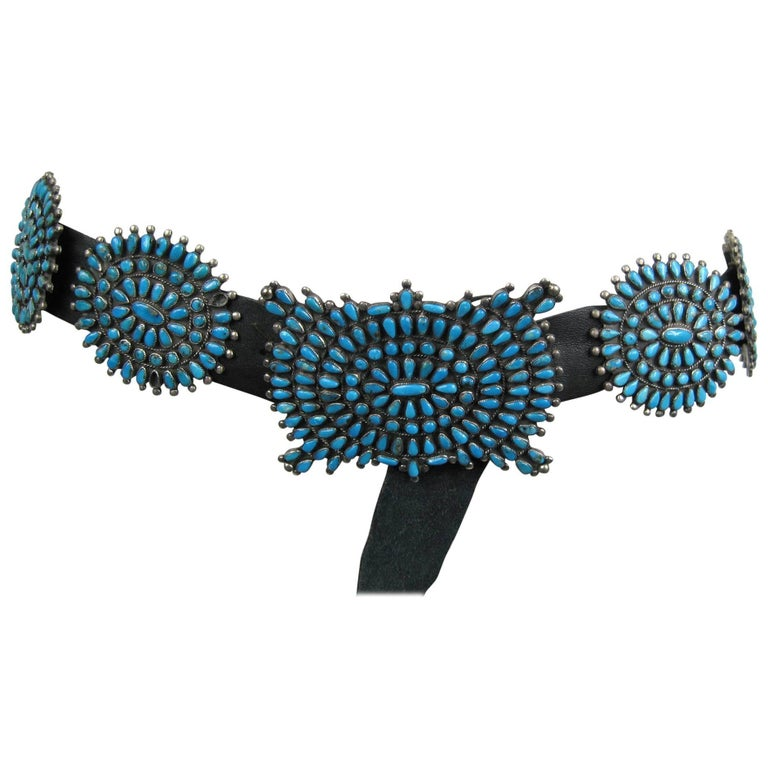 Stunning turquoise Old Pawn petit point Concho Sterling Silver belt VMB