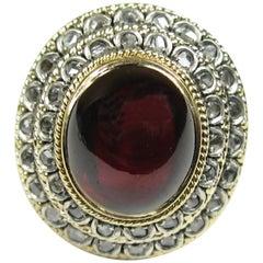 Antique 18K Gold Cabochon Garnet Ring w/ Mine Cut Diamonds