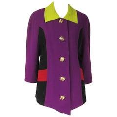 1980s Christian Lacroix Paris Color Block Jacket Purple Green RED