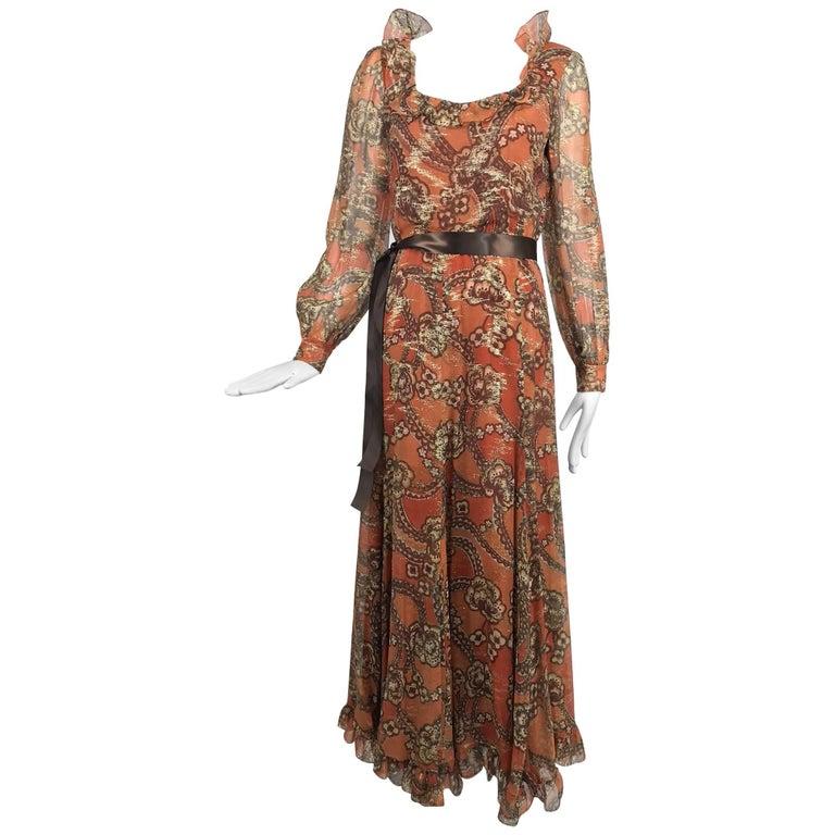 Oscar de la Renta russet print silk chiffon metallic brocade maxi dress 1970s