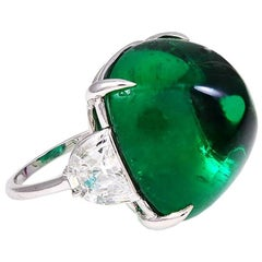 Magnificent Costume Jewelry Large Faux Cabochon Emerald Diamond Ring