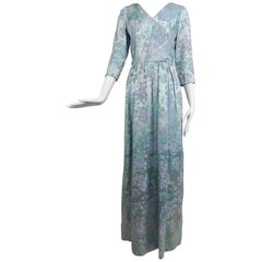 Mainbocher water coloursilk brocade eveing dress 1950s