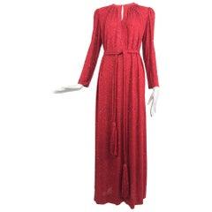 Racine Paris red silk jersey glitter maxi dress with tassel belt 1970s