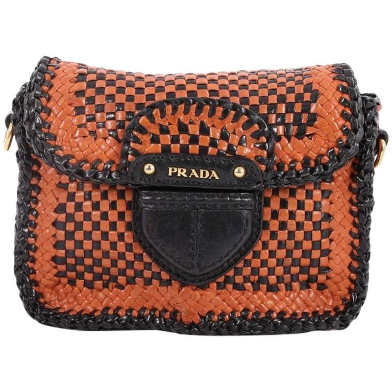9a36a01184faa7 Prada Push Lock Flap Shoulder Bag Madras Woven Leather Small at 1stdibs
