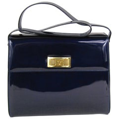 1990s Escada Blue Patent Leather Kelly Hand Bag Never Used Tags Attached