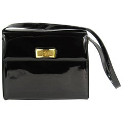 1990s Escada Black Patent Leather Kelly Hand Bag Never Used- With Tags