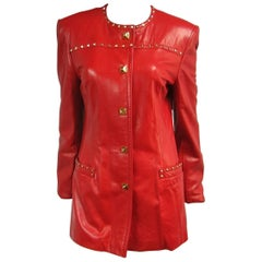 1990s Red Leather Escada Gold Studded Blazer Jacket