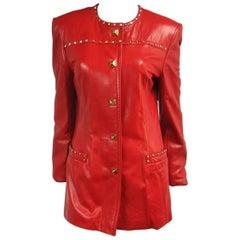 1990s Red Leather Escada Gold Studded Blazer Jacket
