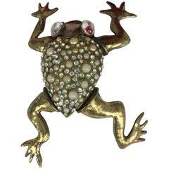 Fabrice Paris huge frog pin rhinestone pearl gold metal