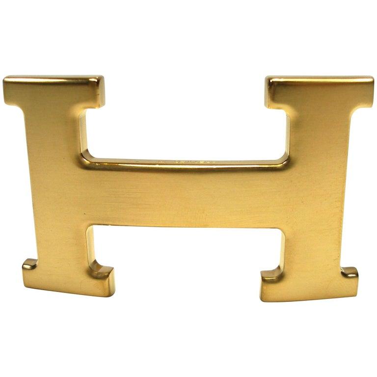 Hermès H Constance Gold Plated Brushed 3.2 cm Belt Buckle
